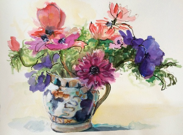 Anemonies going places By Elizabeth Martyn Artist Water Colour Art Classes