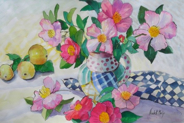 Camelias and Checked Cloth By Elizabeth Martyn Artist Water Colour Art Classes