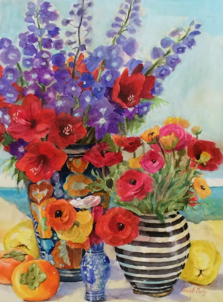 Renunculus and Striped Vase By Elizabeth Martyn Artist Water Colour Art Classes