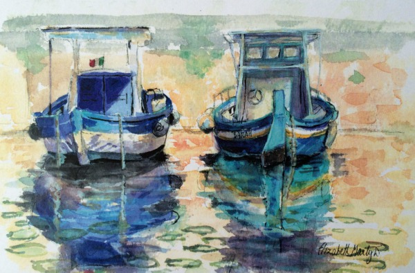 Two Boats, Siracusa Sicily By Elizabeth Martyn Artist Water Colour Art Classes
