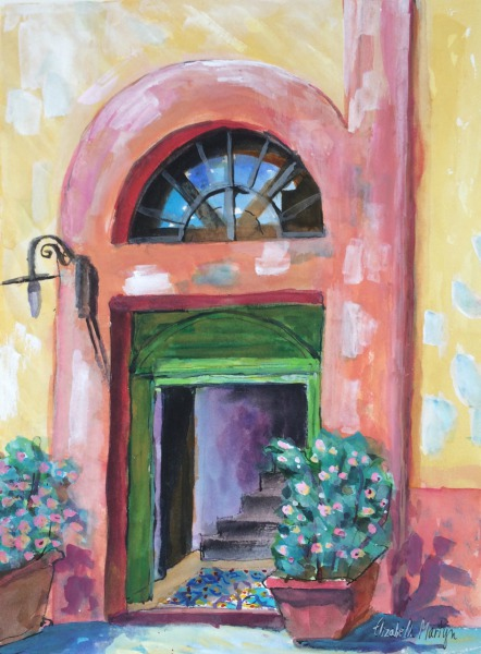 Door Way, Salina Italy  By Elizabeth Martyn Artist Water Colour Art Classes