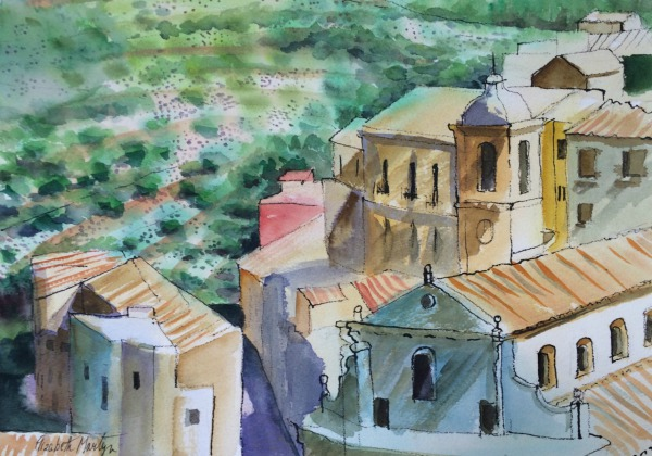 Ragusa, Sicily By Elizabeth Martyn Artist Water Colour Art Classes