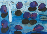 Purple Swamp Hens and Egret, Kakadu NT By Elizabeth Martyn Artist Water Colour Art Classes