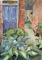 Courtyard. Ancient House, Hampshire by Elizabeth Martyn Artist Water Colour Art Classes